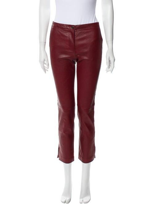 Helmut Lang Lamb Leather Straight Leg Pants Red