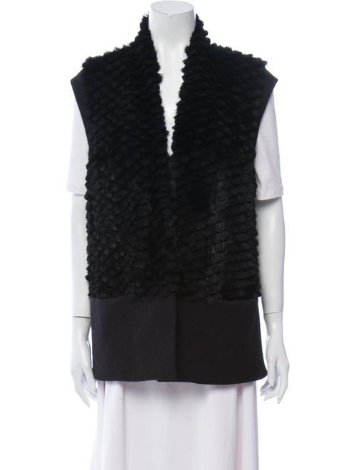 Helmut Lang Wool-Paneled Fur Vest Black