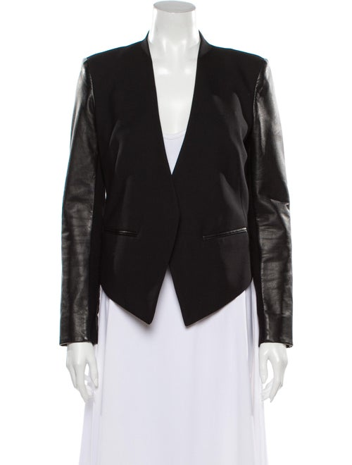 Helmut Lang Wool Leather-Accented Blazer Black