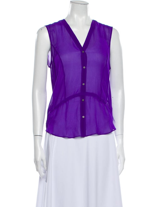 Helmut Lang Silk V-Neck Button-Up Top Purple