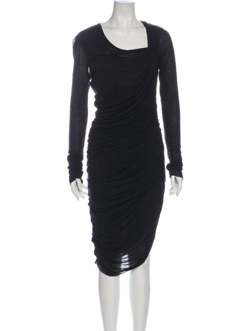 Helmut Lang Asymmetrical Midi Length Dress Black