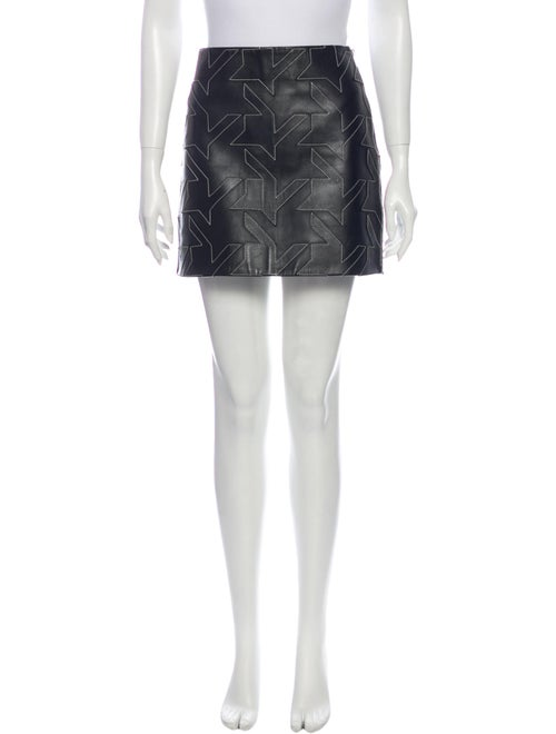 Helmut Lang Lamb Leather Mini Skirt Black