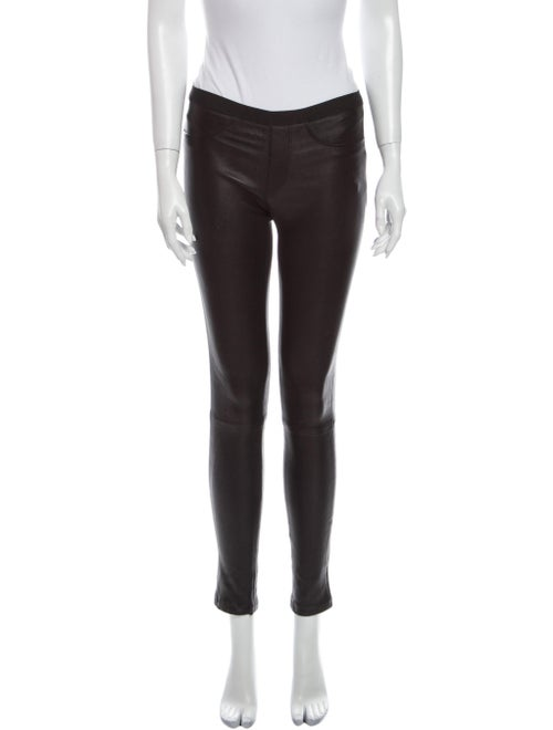 Helmut Lang Lamb Leather Skinny Leg Pants Black