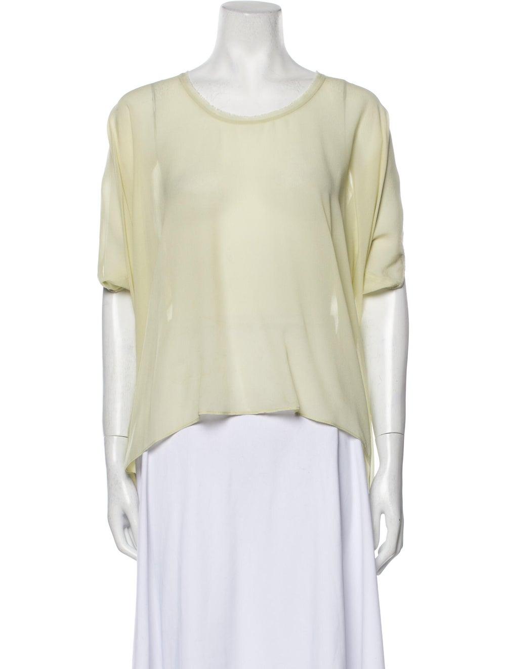 Helmut Lang Silk Scoop Neck T-Shirt Green - image 1