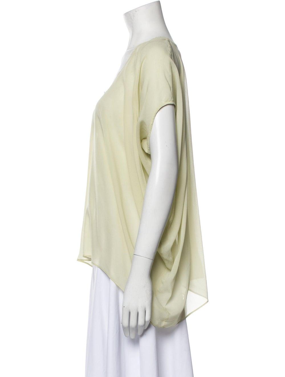 Helmut Lang Silk Scoop Neck T-Shirt Green - image 2