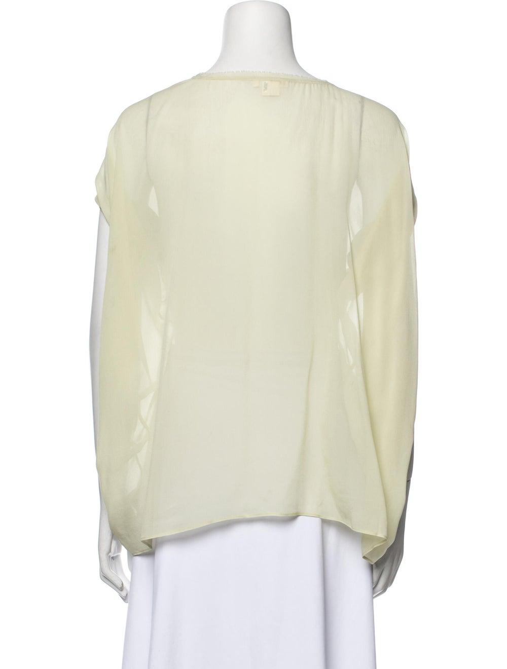 Helmut Lang Silk Scoop Neck T-Shirt Green - image 3