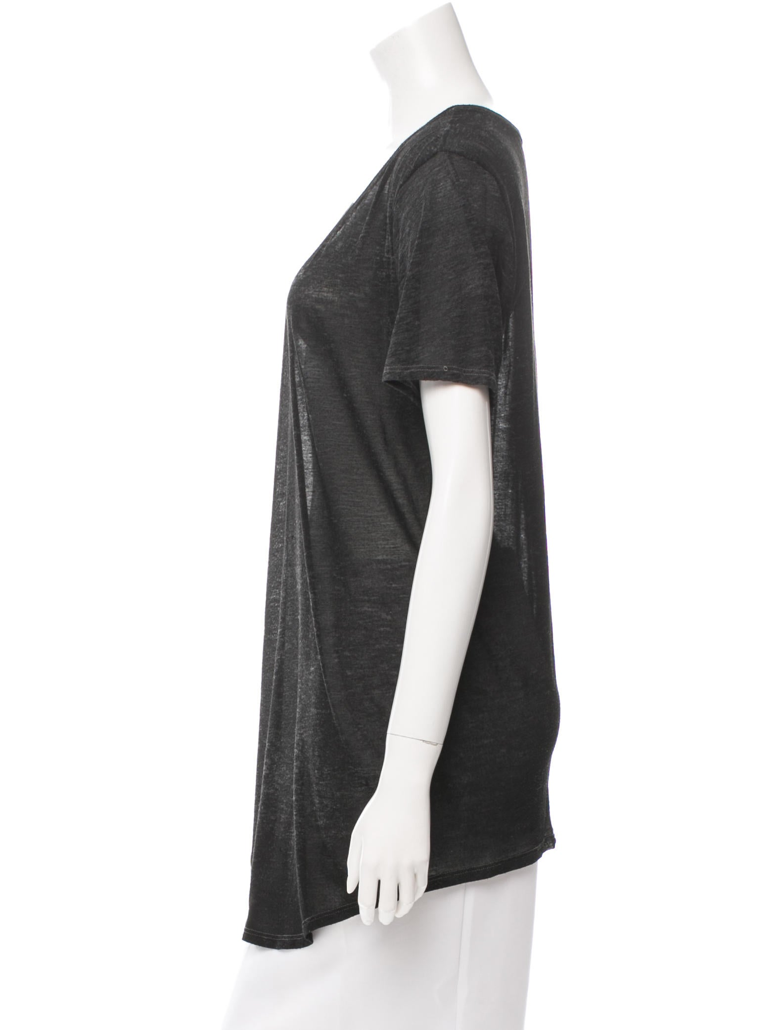 Helmut Lang High Low Scoop Neck T Shirt Clothing