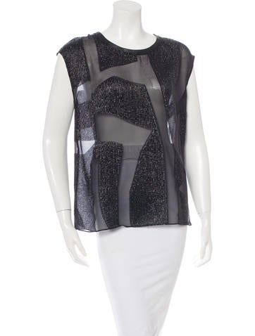 Helmut Lang Metallic Sleeveless Top None