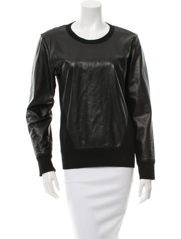 Helmut Lang Leather-Accented Wool Sweater