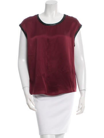 Helmut Lang Leather-Trimmed Scoop Neck Top None
