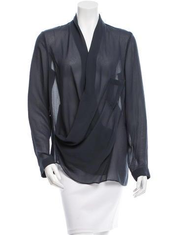 Helmut Lang Long Sleeve Draped Blouse