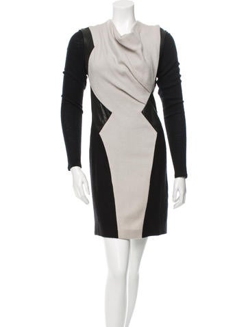 Wool Leather-Trimmed Dress