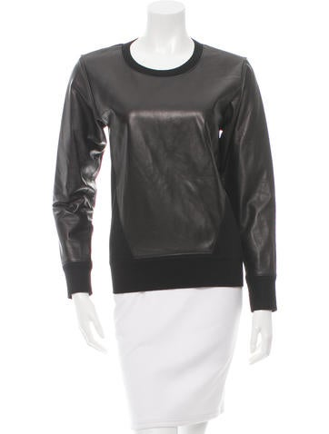 Helmut Lang Leather-Accented Long Sleeve Sweatshirt None