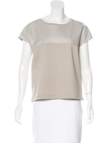 Helmut Lang Leather Paneled Boxy Top None