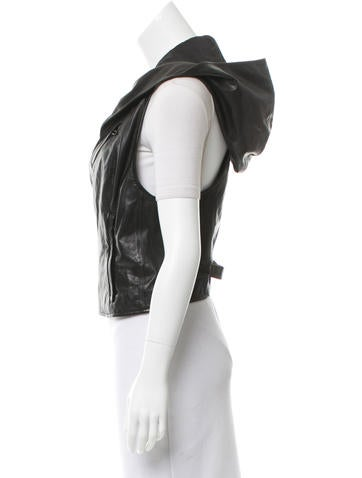 Hooded Leather Vest