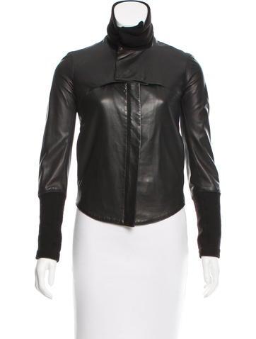 Helmut Lang Leather Knit-Trimmed Jacket None