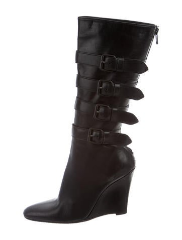 Helmut Lang Tall Wedge Boots None