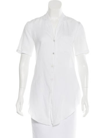 Helmut Lang V-Neck Button-Up Top