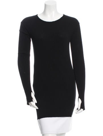 Helmut Lang Long Sleeve Rib Knit Top None