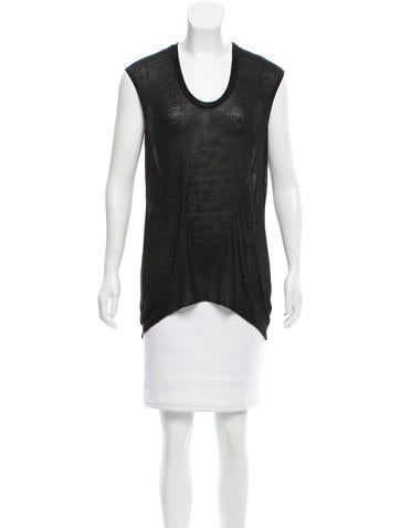 Helmut Lang Scoop Neck High-Low Top None