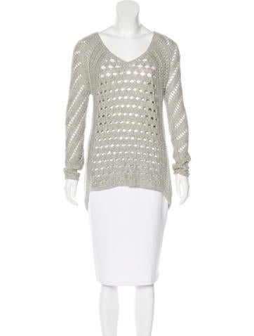 Helmut Lang Open Knit Asymmetrical Sweater None