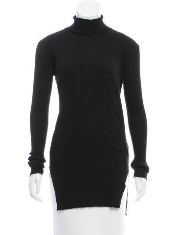 Helmut Lang Rib Knit Turtleneck Sweater None