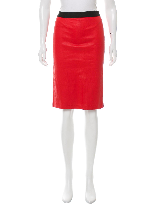 helmut lang leather knee length skirt clothing