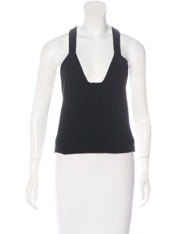 Helmut Lang Rib Knit Crop Top None
