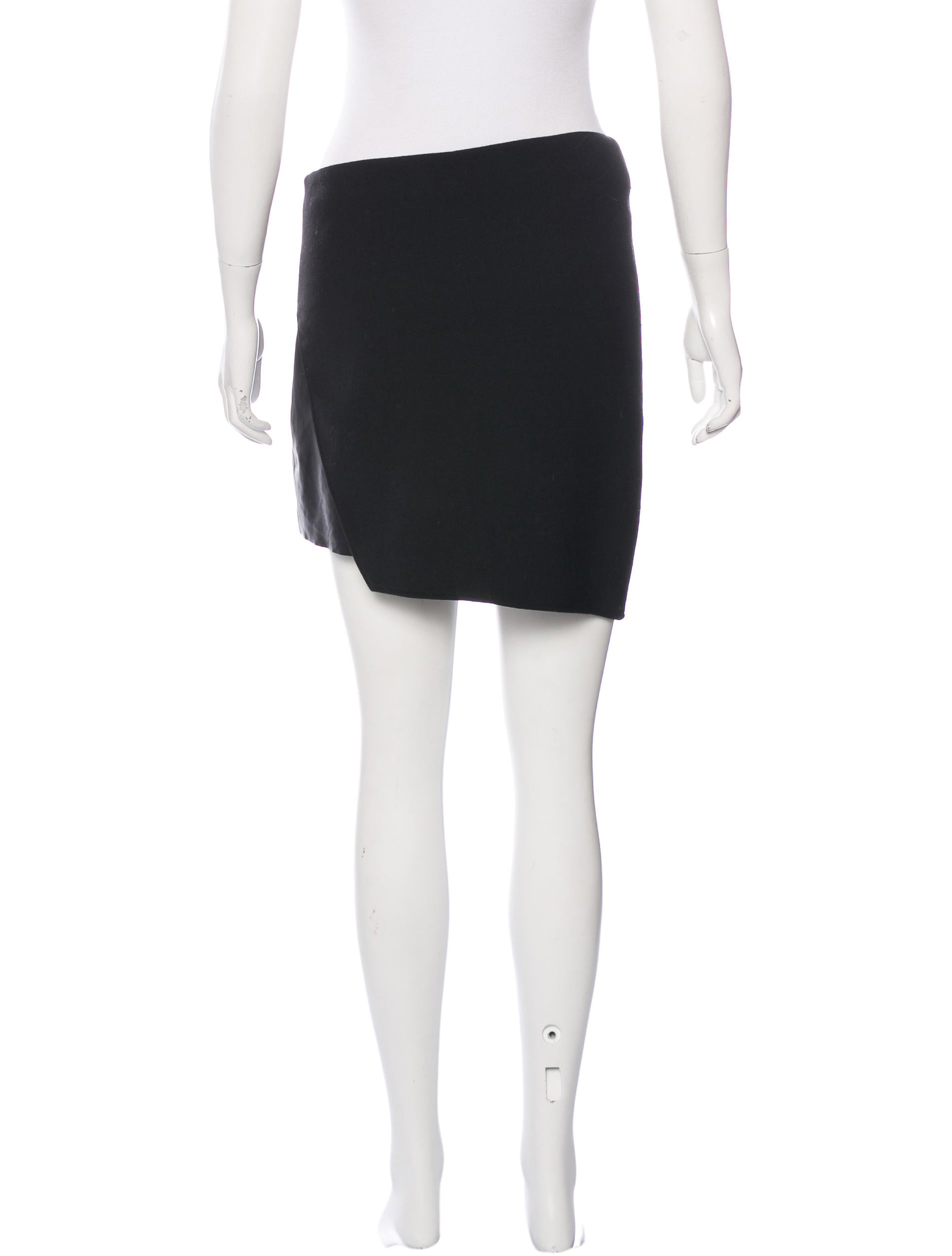 helmut lang leather trimmed asymmetrical skirt clothing