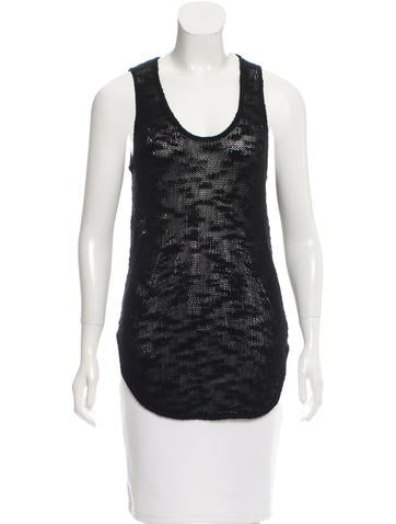 Helmut Lang Semi-Sheer Open Knit Top None