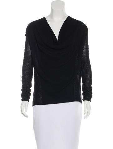 Helmut Lang Wool Cowl Neck Top None