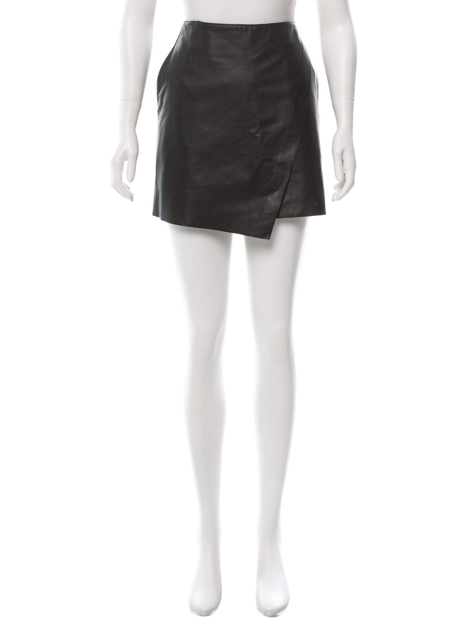 helmut lang leather asymmetrical skirt clothing