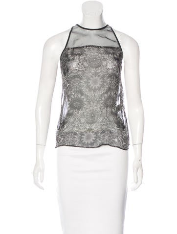 Helmut Lang Abstract Print Sleeveless Top None