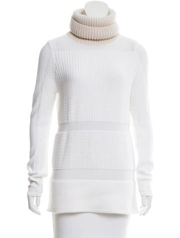 Helmut Lang Rib Knit-Trimmed Turtleneck Sweater None