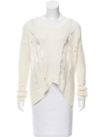 Helmut Lang Distressed High-Low Sweater None