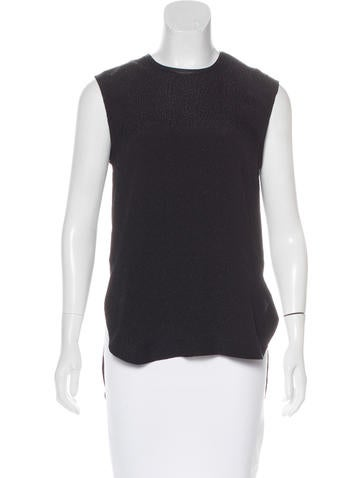 Helmut Lang Leather-Accented Silk Top None