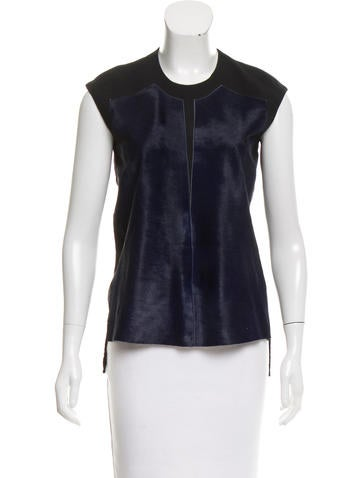 Helmut Lang Pony Hair-Paneled High-Low Top None