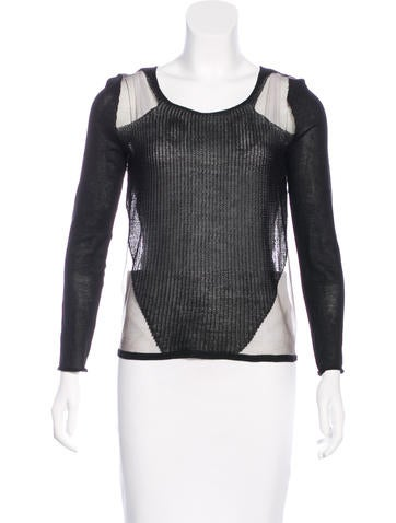 Helmut Lang Open Knit Mesh-Accented Top None