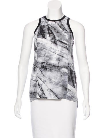 Helmut Lang Silk Marble Print Top None