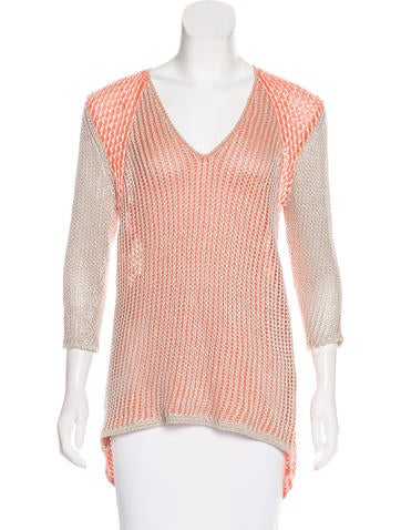 Helmut Lang Open Knit V-Neck Sweater None