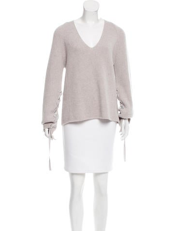 Helmut Lang Wool & Cashmere Lace-Up Sweater None