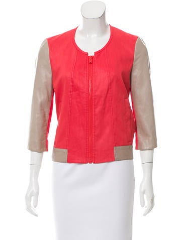 Helmut Lang Leather-Paneled Jacket None