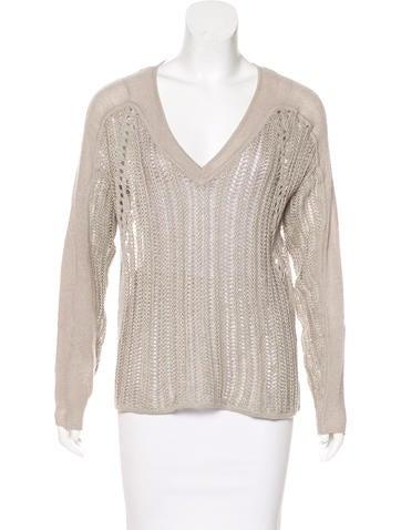 Helmut Lang Linen Open Knit Sweater None