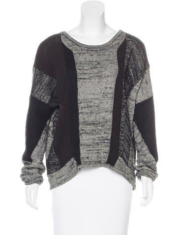 Helmut Lang Linen-Blend Rib Knit Sweater None
