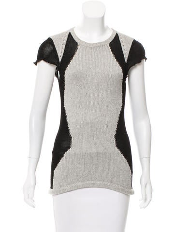 Helmut Lang High-Low Short Sleeve Sweater None