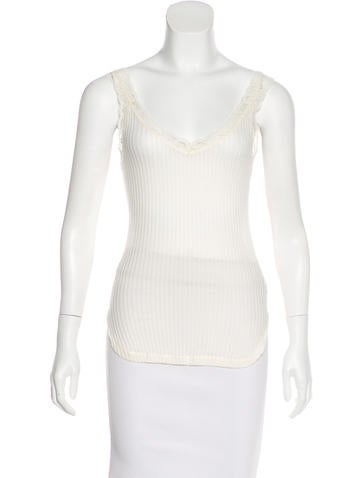 Helmut Lang Lace Trimmed Sleeveless Top None