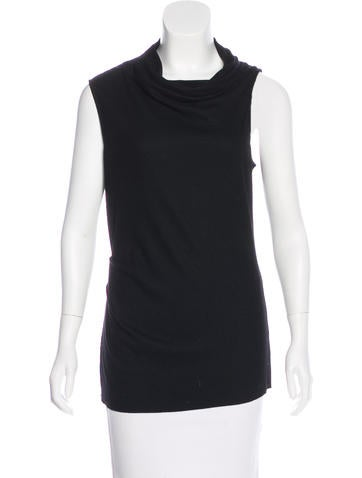 Helmut Lang Pleated Wool Top None
