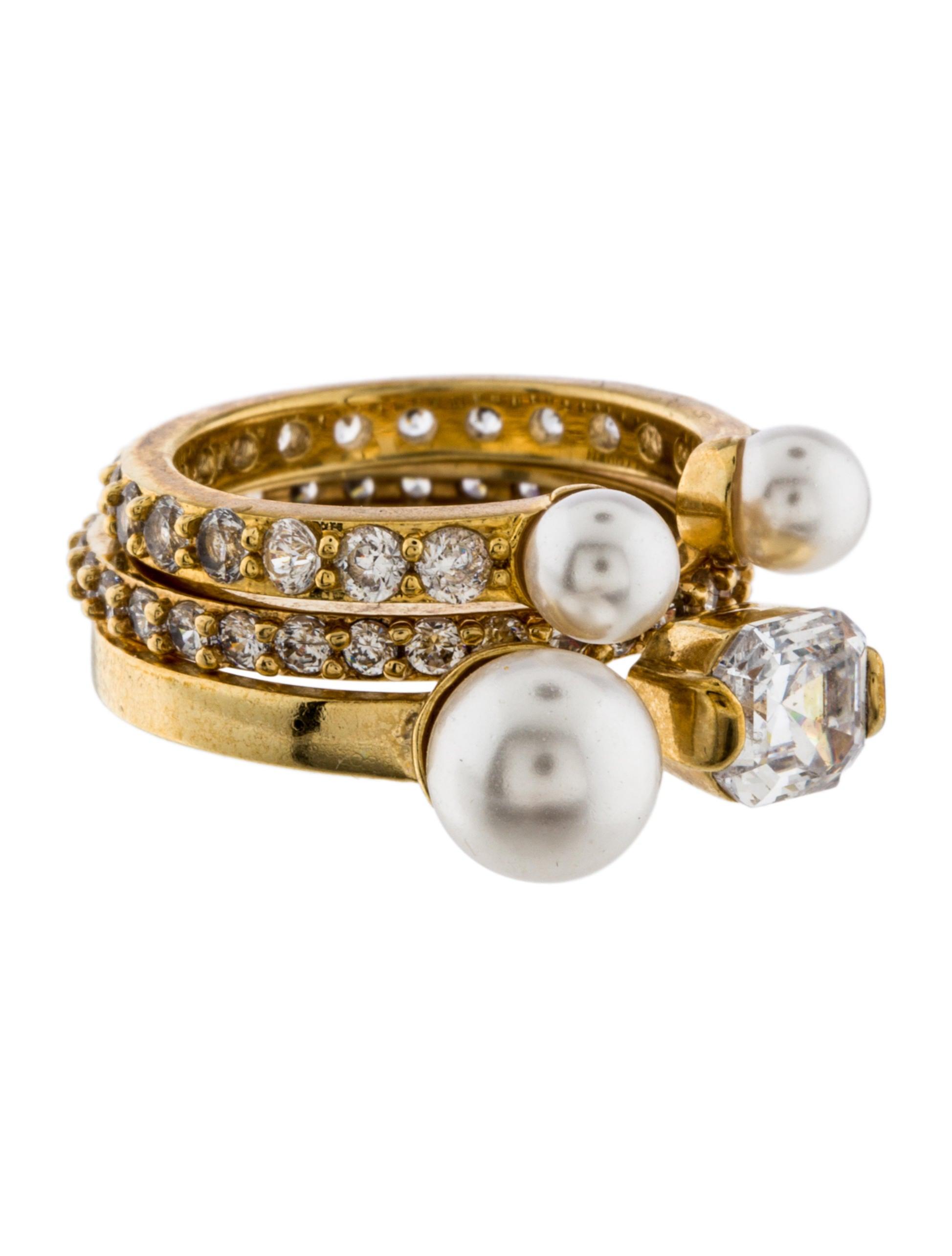 henri bendel midi pearl ring set rings whenb20041. Black Bedroom Furniture Sets. Home Design Ideas
