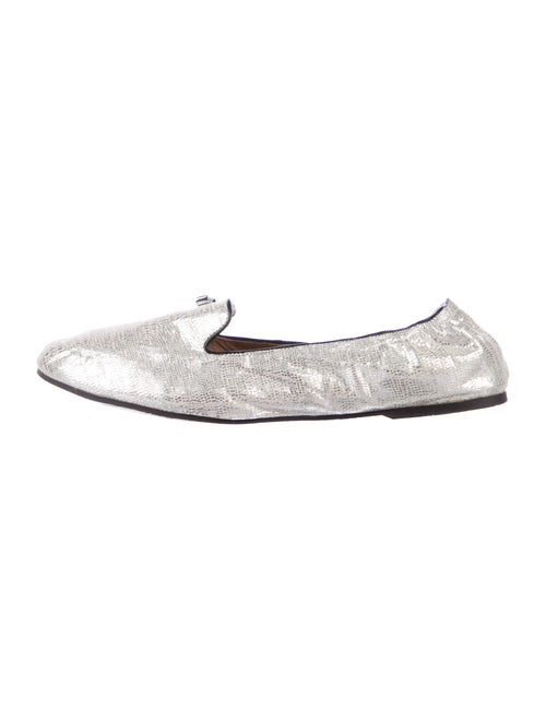 Henri Bendel Leather Loafers Silver