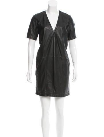 HELMUT Helmut Lang Leather Mini Dress None